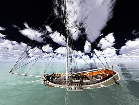Pirate brigantine out on sea photo