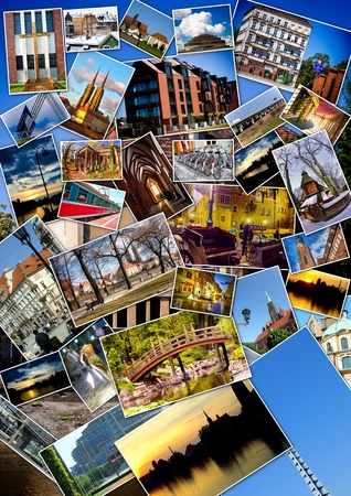 European city collage with postcards photo