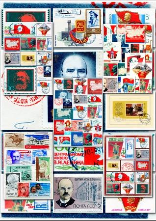 memorabilia: Great communists figures on collage Editorial