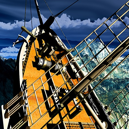 Sinking pirate brigantine on stormy seas photo