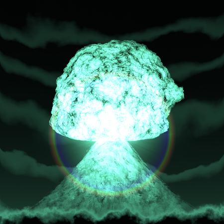 hydrogen bomb: Huge nuclear explosion over land