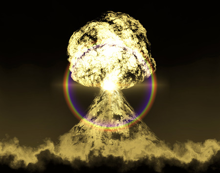 fallout: Huge nuclear explosion over land