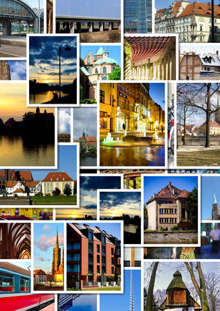 European city collage with postcards