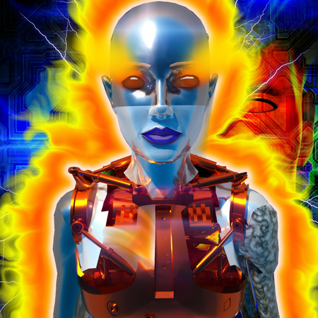 cybernetics: Cyborg with the flames of energy
