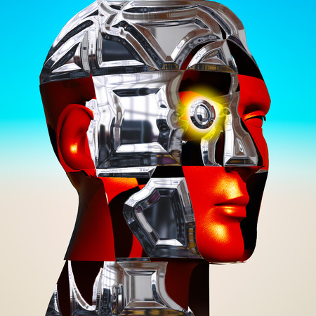 Cyborgs head with metal plates photo