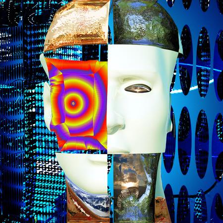 Cyborgs head with energy plates photo