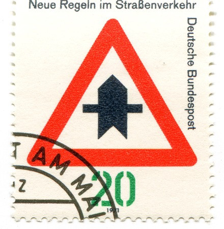 philatelic: road sign on German postal stamp