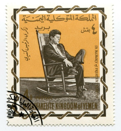 john fitzgerald kennedy: John Fitzgerald Kennedy on Yemen postage stamp Editorial
