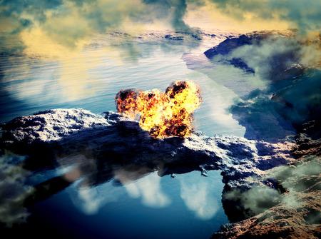 Volcanic eruption on island - inside crater photo