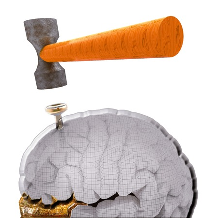 splitting headache: hammer and nail with a brain model Stock Photo