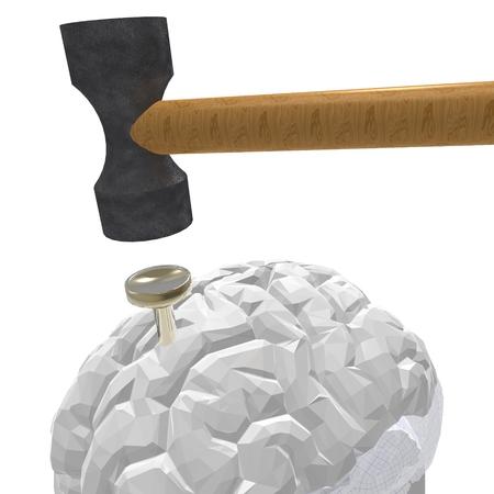 splitting headache: hammer and nail with a brain model Stock Photo