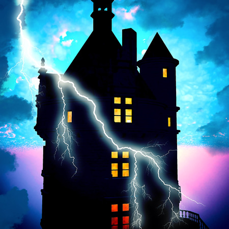 Haunted house with lightning at nght photo
