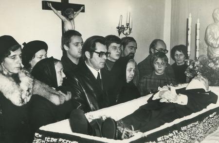 POLAND, November 1978: Family mourns over granfathers body, circa 1978