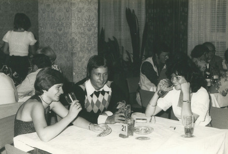 Poland, circa 1978: young Polish students socialise with each other in Germany, circa 1978