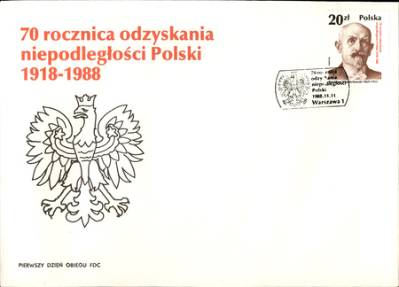 obsolescence: Poland, circa 1988: Vintage envelope with postage stamp to commemorate 70th anniversary of regaining independence