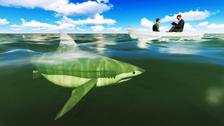 businessmen on boat with shark photo