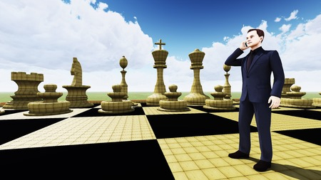 man standing alone: Brainstorming on the cell phone Stock Photo