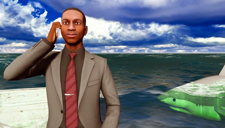 circling: businessman surrounded by sharks calling for help on mobile phone