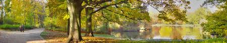 dolnoslaskie: autumnal pond in park Stock Photo