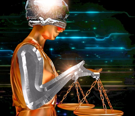 blind justice: Themis holding scales isolated on technological background