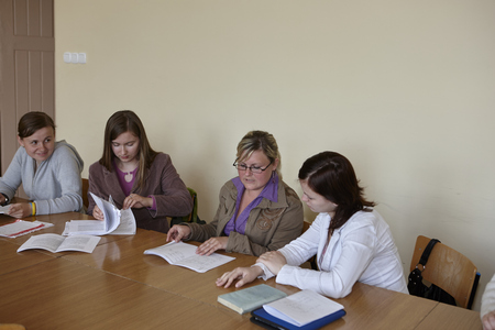 undergrad: Wroclaw, Poland, May, 13, 2009-  female students in classroom before examination