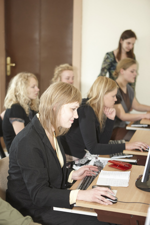 undergrad: Wroclaw, Poland, May, 13, 2009-  female students in computer classroom