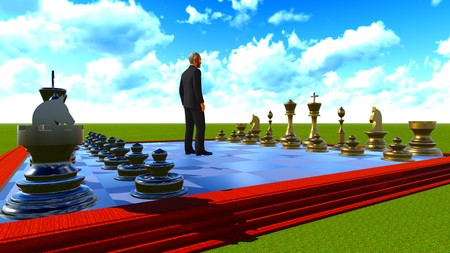 chess board: Businessman on chess board