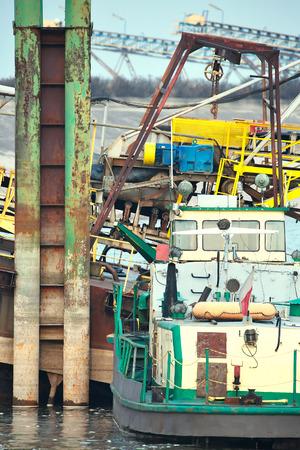 shipyard: Ships moored at a shipyard
