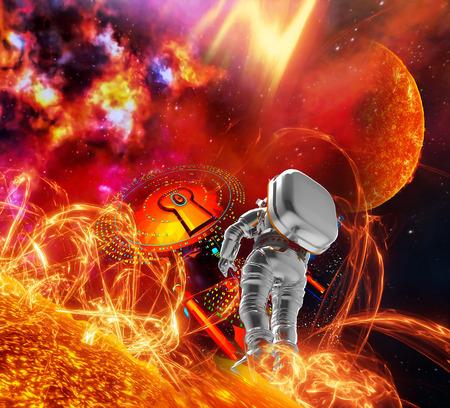 heat radiation: Travel to  the sun Stock Photo