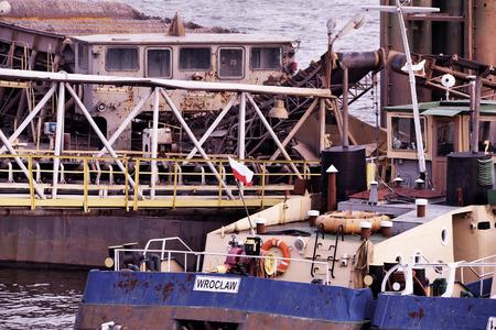 moored: Ships moored at a shipyard