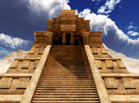 mayan culture: Sairs of Mayan temple Stock Photo