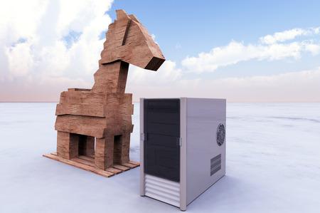 malicious: Trojan horse and computer Stock Photo