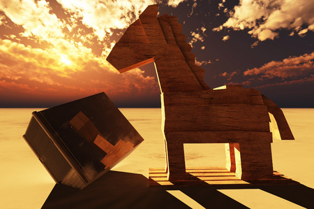 trickery: Trojan horse and computer Stock Photo