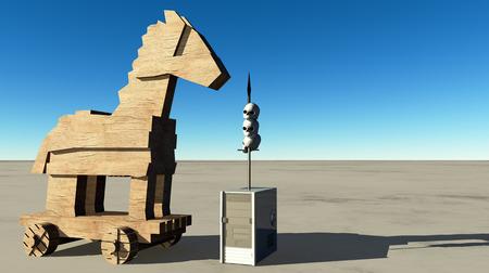 trojan horse: Trojan horse and computer Stock Photo