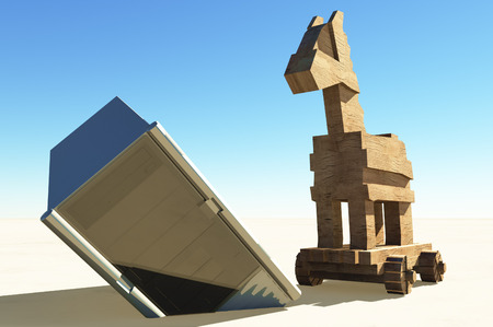 malicious software: Trojan horse and computer Stock Photo