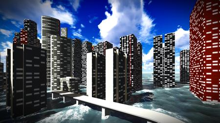tsunami: Tsunami devastating the city