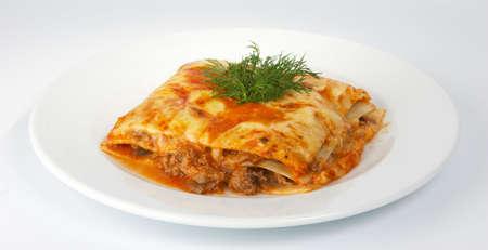 lasagna: Lasa�a de ternera con.  Foto de archivo