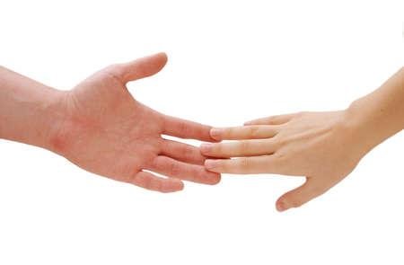 caring hands: holding hands - geïsoleerd Stockfoto