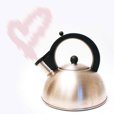 heartshaped:  Kettle with heart-shaped steam isolated on white