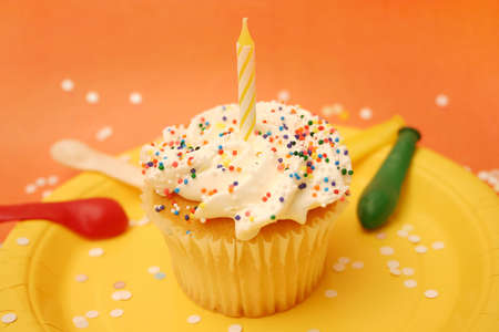 Cupcake with confetti Stock Photo