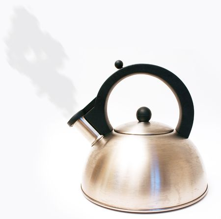Kettle with steam isolated on white photo
