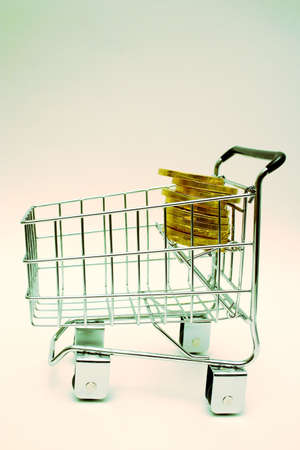 minature: Minature shopping cart (with money)