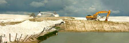 crystallization: Salt deposits - Chaplin lake, Saskatchewan, Canada.