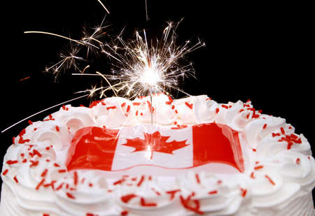 themed:  Canada themed cake and sparkler