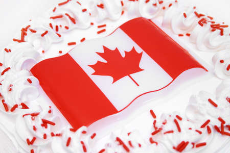 Delicious cake and Canadian Flag Stock Photo