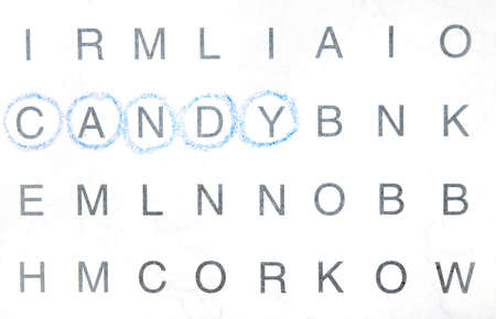 pronounce: Word search - the word Candy has been found Stock Photo