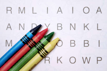 Word search with crayons