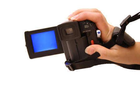 Hand holding digital video camera Stock Photo