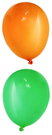 res: isolated orange and green balloon (high res)