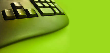 typist:  keyboard with green tones - room for text